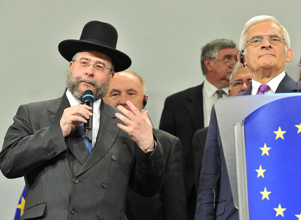 הרב פנחס גולדמישט בחירות לפרלמנט האירופי אירופה  (צילום: AFP)