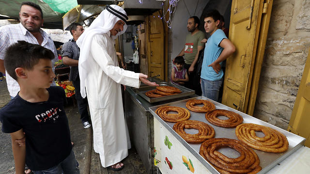 Traditional Ramadan sweets at a market in Hebron