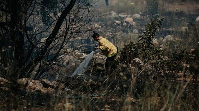 שריפה משתוללת סמוך לאלעד (צילום: עומר שפירא, דוברות כבאות והצלה)