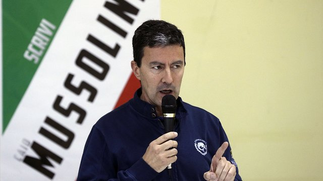 Caio Giulio Cesare Mussolini, the Fascist leader's grandson, who is running with the far-right Brothers of Italy party in the European elections (Photo: AP)