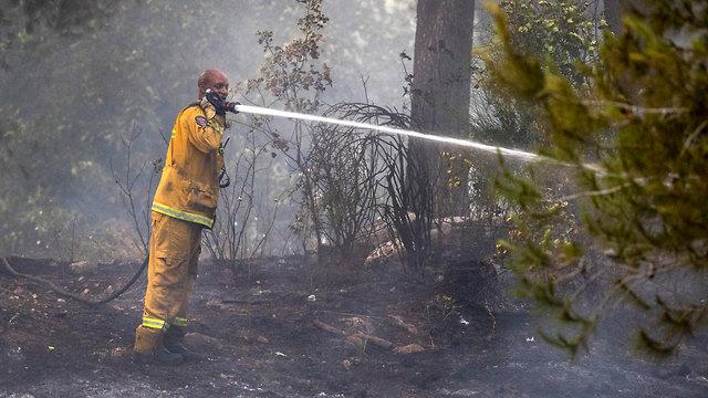 כוחות כיבוי שריפה ליד כפר אוריה וקיבוץ הראל (צילום: EPA )