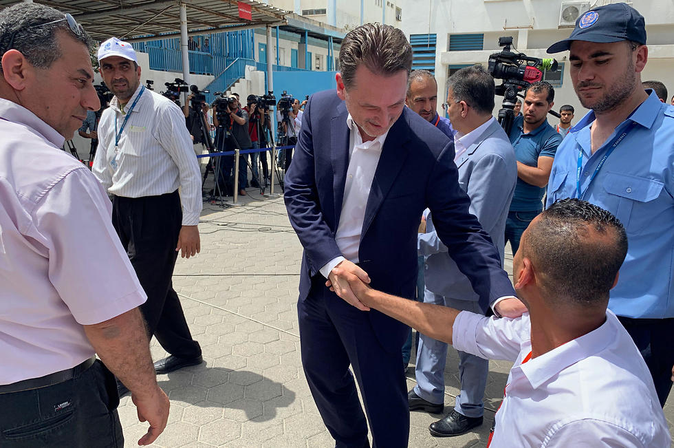 UNRWA chief Pierre Krahenbuhl at a school in Gaza