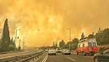 שריפה בקיבוץ מבוא מודיעים (צילום: כבאות והצלה מחוז מרכז)