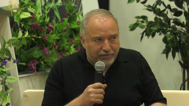 Former defense minister Avigdor Liberman speaking about coalition stand-off