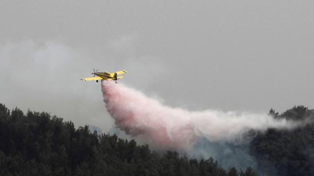 מטוס כיבוי מעל יער סמוך לקיבוץ הראל (צילום: רויטרס)