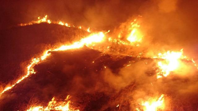שריפה באזור מנחמיה (צילום: דוברות כבאות והצלה מחוז צפון)
