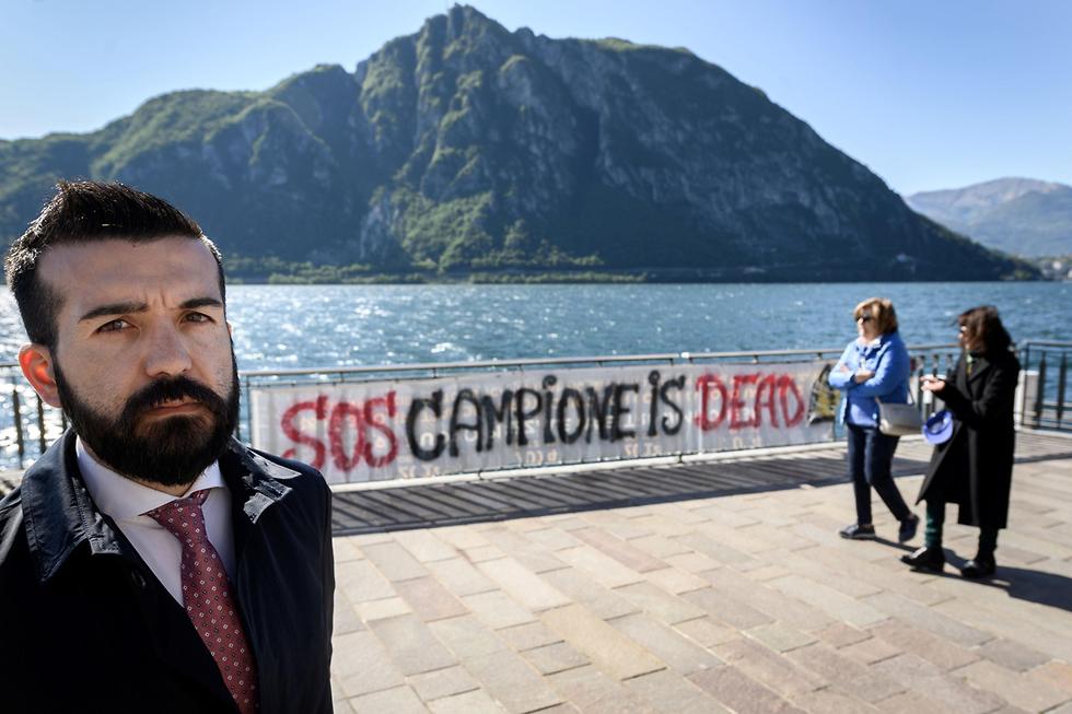 מובלעת של איטליה ב שווייץ העיירה קמפיונה ד'איטליה ה קזינו הגדול ב אירופה נסגר (צילום: AFP)
