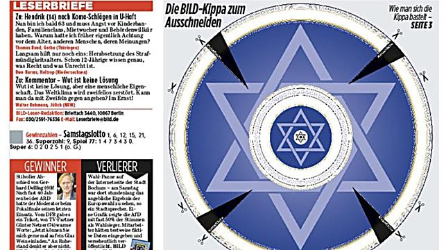 The Bild newspaper adds a cutout of a kippa May 2019