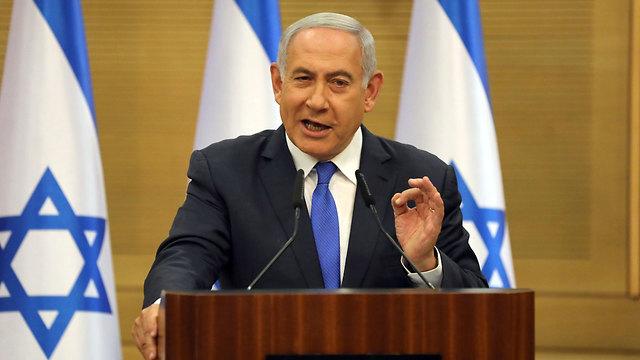 נתניהו בהצהרה לאחר מעבר קריאה טרומית של ההצבעה להצעת חוק פיזור הכנסת (צילום: EPA)