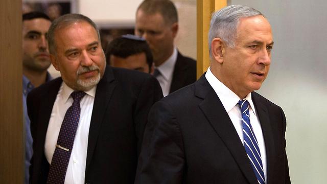 Avigdor Liberman and Benjamin Netanyahu (Photo: AFP) (Photo: AFP)