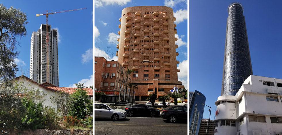מגדלים מגדלים: הבניין בסגנון הבינלאומי של ''עלית'' שהפך לחלק מ''שנקר''; בית גרונר הוותיק יותר (ששמו נקשר בפרשת שימוש חורג); ומגדל ''פסגת דן'' החדש (צילום: נעם רוזנברג)