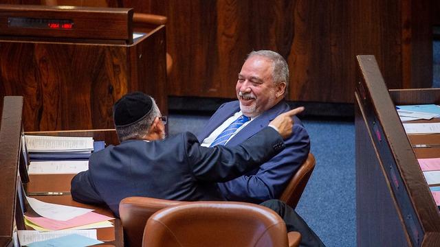 אביגדור ליברמן במליאת הכנסת  (צילום: יואב דודקביץ')