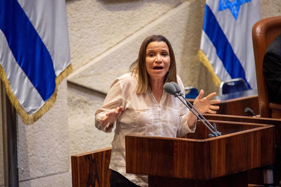 שלי יחימוביץ' בנאום במליאה (צילום: יואב דודקביץ' )