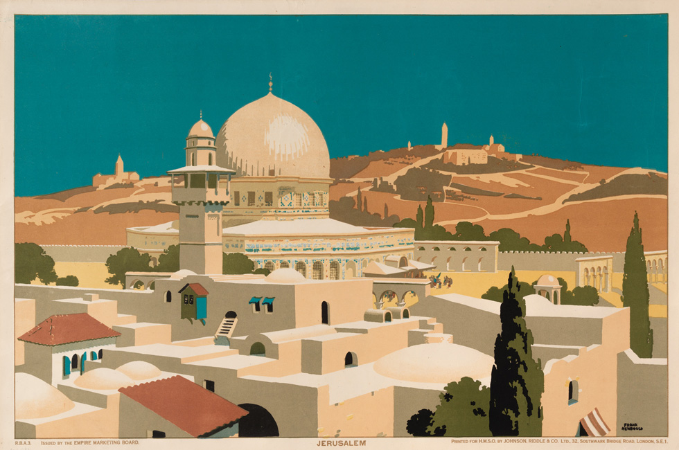 טבע ונוף ירושלמיים, כפי שצייר אותם האמן הבריטי פרנק ניובולד (Frank Newbould) עבור לוח שיזם ב-1925 המזכיר הקולוניאלי הבריטי, כדי לעודד מסחר בתוך האימפריה הבריטית (Empire Marketing Board) (אוסף הכרזות של ציונות 2000)