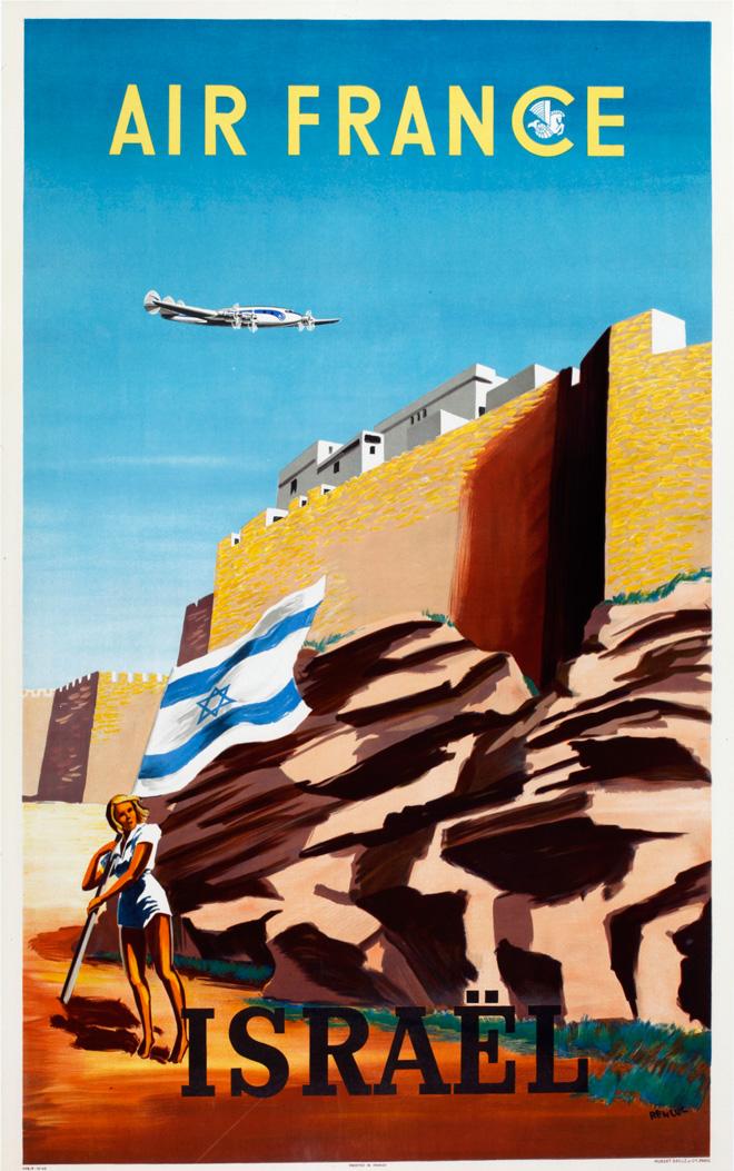 """ירושלים כסמל המייצג את מדינת ישראל בכרזה של הצייר הצרפתי Renluc לחברת התעופה הצרפתית ״אייר פראנס"""", שנות ה-50 (אוסף הכרזות של ציונות 2000)"""