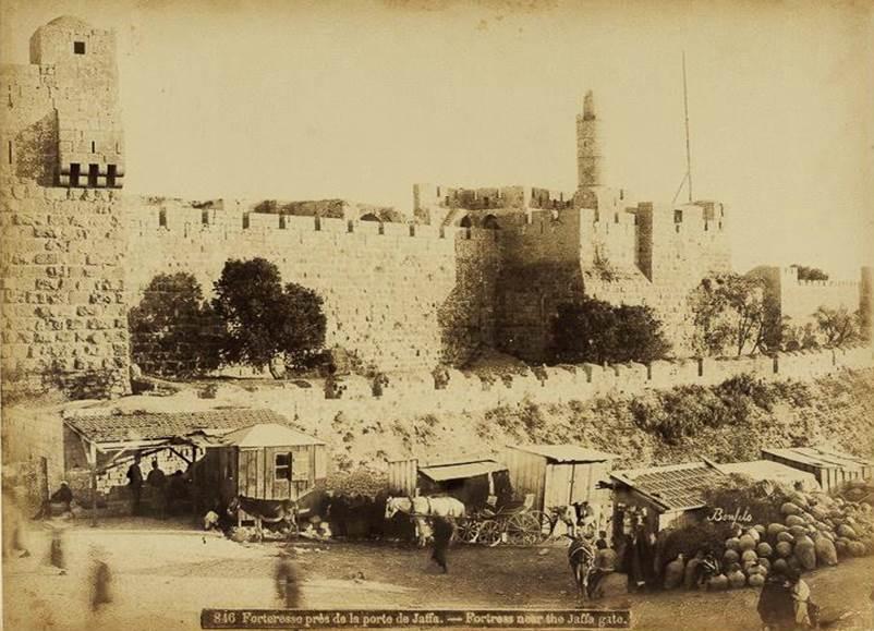 Башня Давида и вид на Старый город. 1870 год. Фото: Феликс Бонфилз. Из коллекции Национальной библиотеки