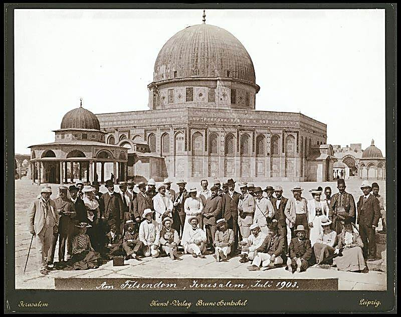 German tourists on the Temple Mount, 1903  (Photo: Courtesy of National Library)