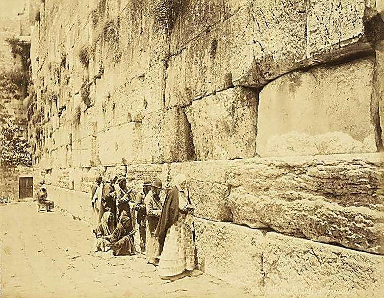 Jewish worshippers at the Western Wall  (Photo: Felix Bonfils/National Library)