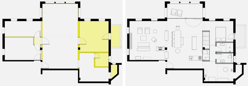 משמאל: תוכנית הדירה בחלוקתה המקורית. מימין התוכנית לאחר השיפוץ: זרימה בין כל החדרים, ומחיצות במקום קירות (תוכניות: בריזה אדריכלים)