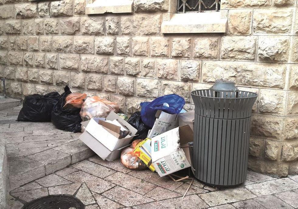 Piles of trash in Jerusalem's Old City