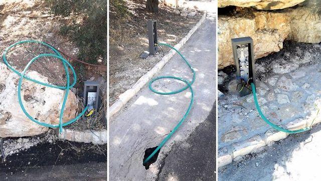 Exposed, hazardous wiring