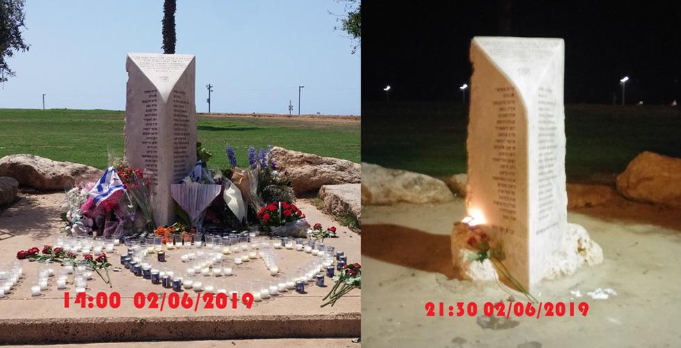 """Обелиск в память о жертвах теракта в """"Дольфи"""" днем 2 июня и вечером того же дня. Фото: Виктор Комоздражник"""