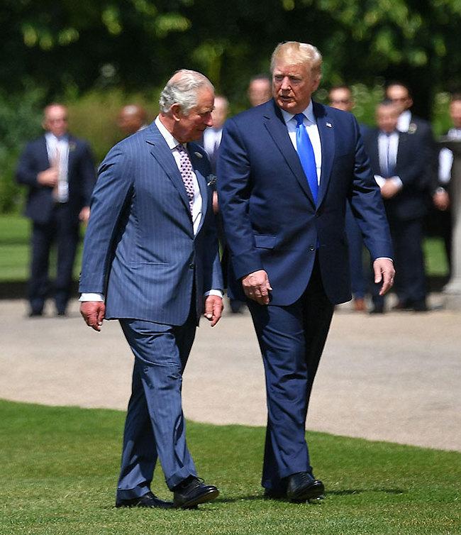 """""""אתה קראת לכלה שלי דוחה?"""". טראמפ והנסיך צ'ארלס (צילום: AFP)"""