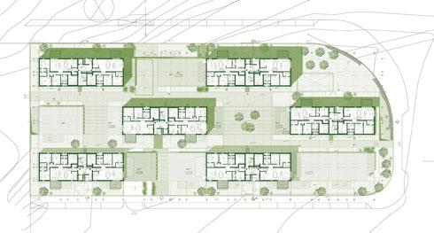במקום מבנה ה-H המקובל - זוגות בניינים בשלוש שורות (תוכנית: HQ אדרת הכפר)