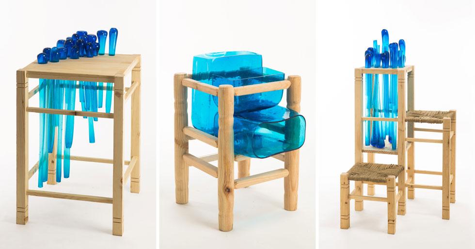 לחצו לכתבה המלאה על הרהיטים החדשים שנוצרו משילוב בין שרפרפים מסורתיים וזכוכית חברון (צילום: עודד אנטמן)
