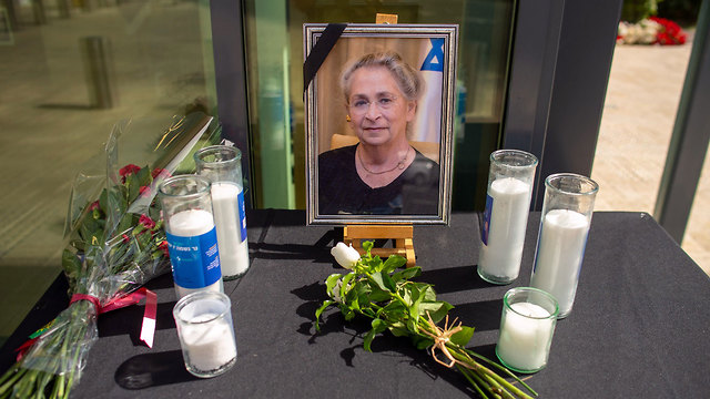 A memorial to Nechama Rivlin outside the president's official residence in Jerusalem following her death (Photo: Yoav Dudkevitch)