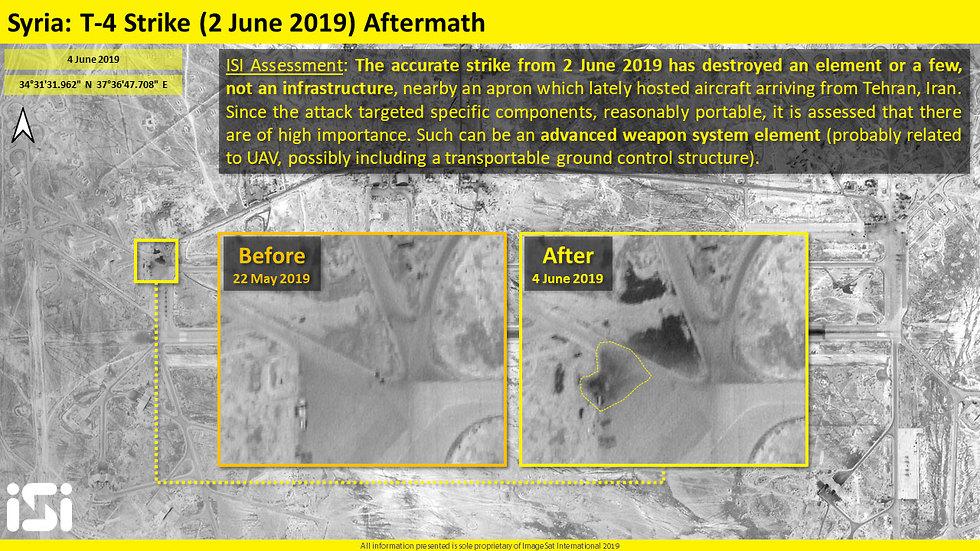 תוצאות התקיפה ב בבסיס T-4 סוריה (צילום: ImageSat International ISI)