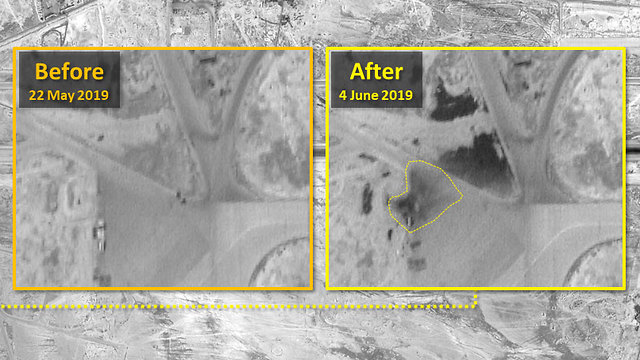 Footage of the Syrian airbase before and after the alleged strikes (Photo: ImageSat International)
