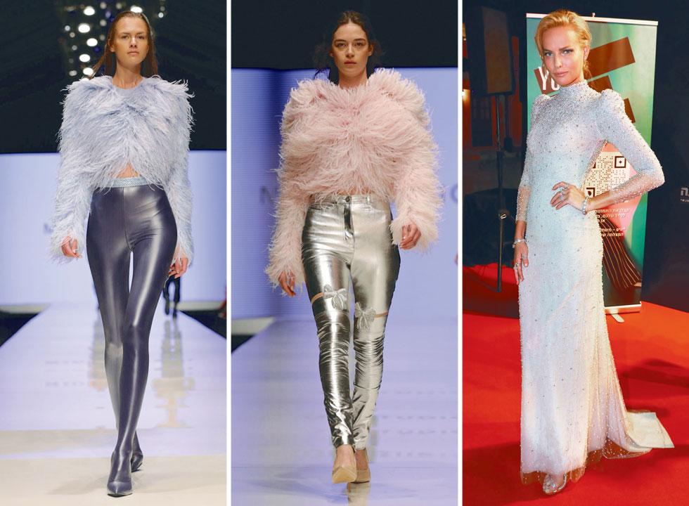 עיצובים של מיור בשבוע האופנה TLV. מימין: גלית גוטמן והפנינים (צילומים: אבי ולדמן, דנה קופל)