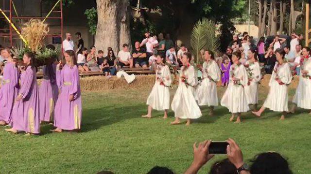 חוגגים שבועות בקיבוץ גן שמואל (צילום: רועי כורם)