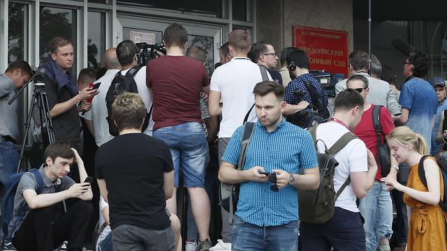 Митинг журналистов в Москве против насилия над Иваном Голуновым. Фото: EPA