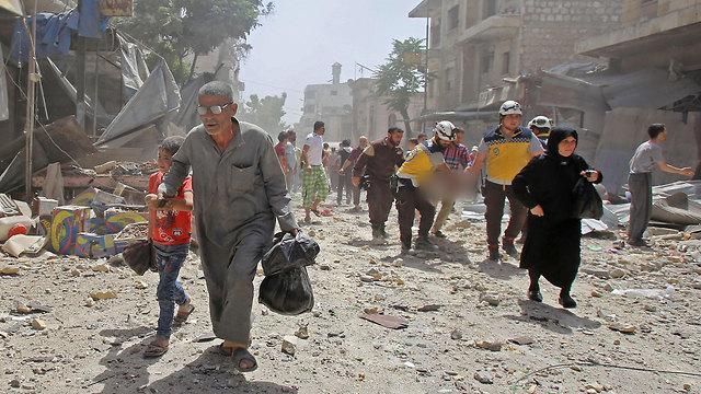 ההפצצות שבאידליב, סוריה (צילום: AFP)