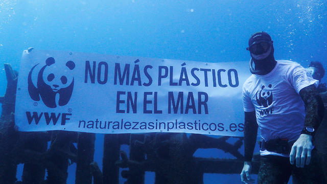 WWF activist next to a banner reading 'No More Plastic in the Sea' covering the sculptures of the U