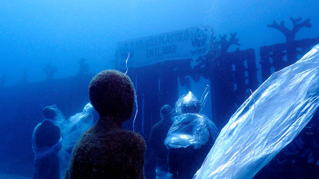 Underwater Museum covered with plastic at Playa Blanca, Lanzarote's coast, Canary Islands, Spain