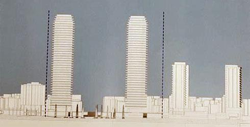 שני המגדלים. מימין: בתי המלון הקיימים שצמודים לכיכר מדרום. משמאל: מלון קרלטון (שמבקש להיות גורד שחקים אף הוא, בניגוד למה שרואים פה) (תרשים: מתוך mavat.moin.gov.il)