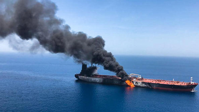 Oil tanker on fire after alleged Iranian attack in the Gulf of Oman (Photo: EPA) (Photo: EPA)