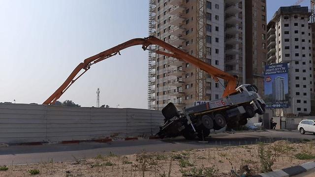 אתר הבנייה בקריית מוצקין (צילום: איחוד הצלה מרחב כרמל)