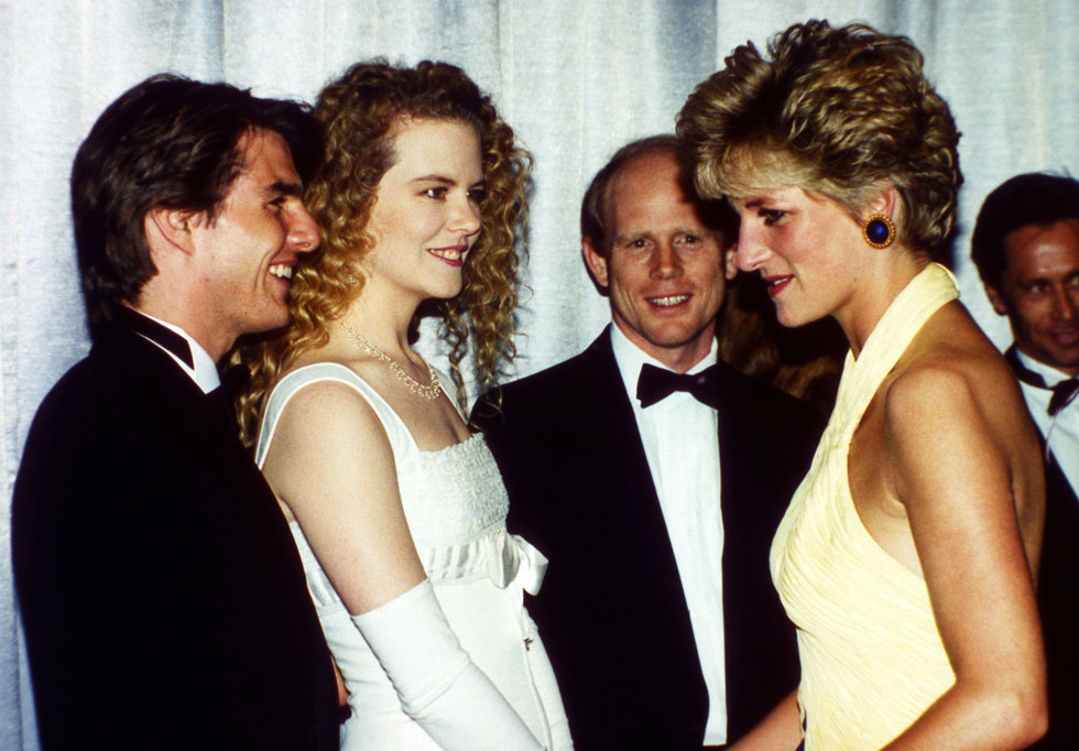 ב-1992: ניקול קידמן וטום קרוז בפגישה עם הנסיכה דיאנה (צילום: AP)
