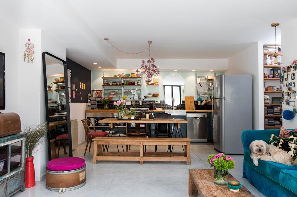 כלי המטבח מוצגים לראווה, ומעל הכיור נתלתה מראה שמשקפת את הגינה. ''זה כאילו שיש לי חלון במטבח'', אומרת גרטנברג  (צילום: שירן כרמל)