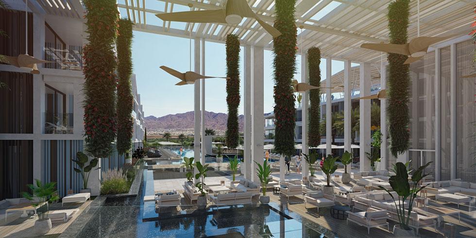 ''אנחנו רוצים לתת פה לייף סטייל רזורט'', אומר האדריכל יואל פייגין, ממשרד האדריכלים המנוסה בישראל בתכנון בתי מלון (הדמיה: Studio 251)