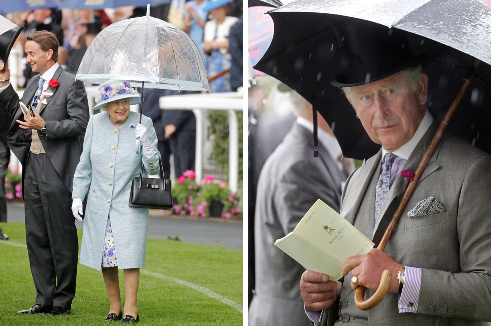 אף אחד אינו חסין מפני הטבע, כולל המלכה ששלפה כמו שאר האורחים מטריה (שקופה וסופר טרנדית) להגנה מהטפטוף הבלתי פוסק. מי שעשה זאת בחן וסטייל בלתי רגיל הוא הנסיך צ'ארלס, מהמתלבשים הטובים ביותר במשפחת המלוכה ובבריטניה כולה, עם פרח בדש הצווארון וטבעת חותם מזהב (צילום: Chris Jackson/GettyimagesIL)