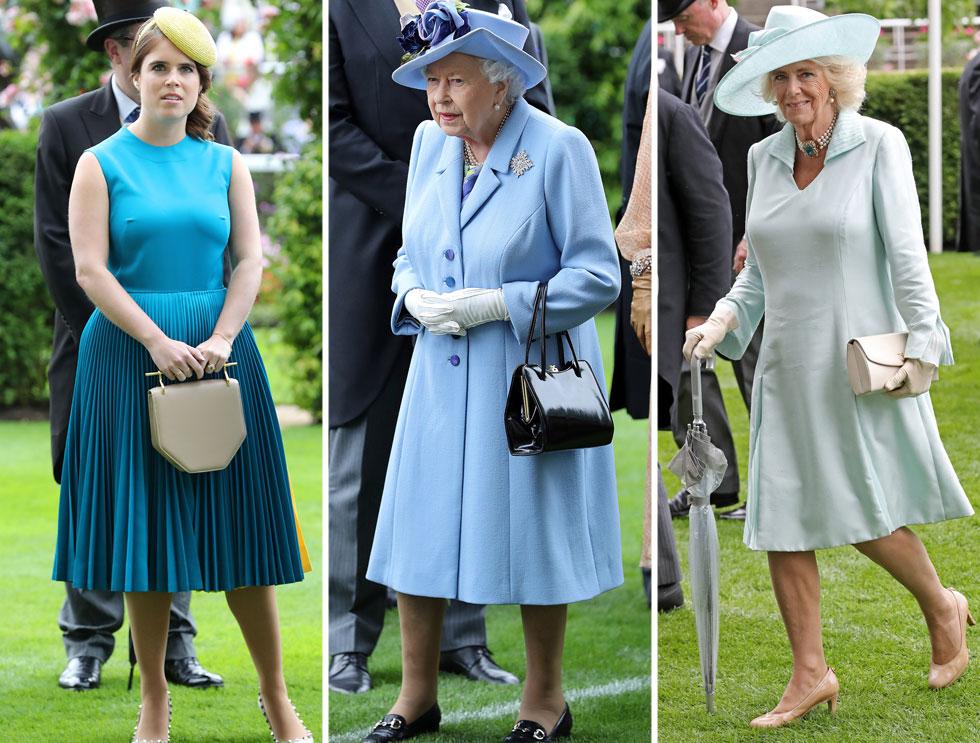 שלושה דורות של אצולה: דוכסית קורנוול קמילה, המלכה אליזבת והנסיכה יוג'יני מיורק – הגיעו כל אחת בפרשנות משלה לצבע הכחול. התוצאה: מאלגנטיות מנומנמת אצל קמילה, ועד לטעם רע וגזרה לא מחמיאה אצל יוג'יני  (צילום: Chris Jackson/GettyimagesIL)