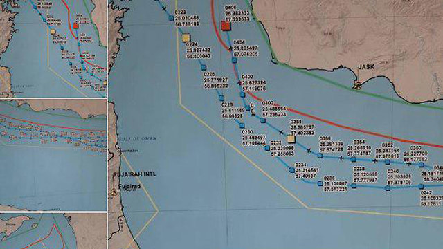 איראן מפה קואורדינטות לכאורה של מל