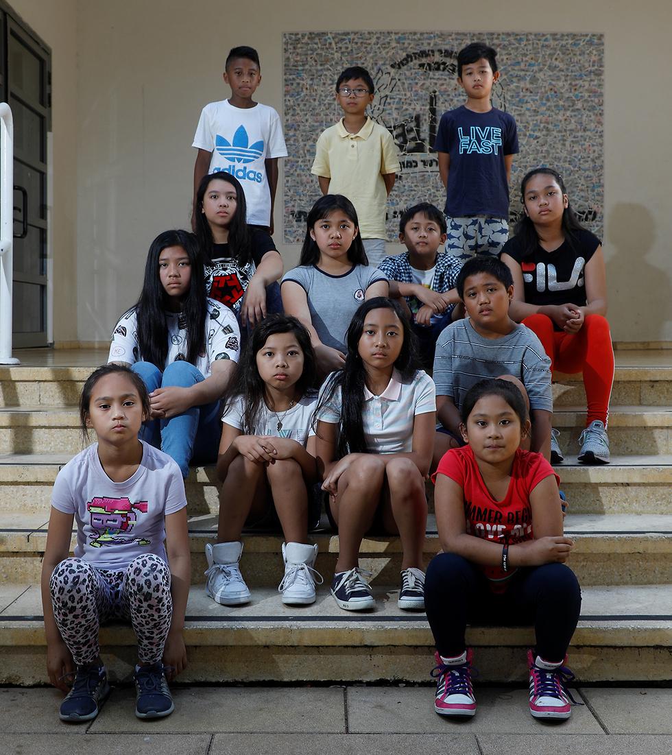 Israeli-born Philippine children facing deportation (Photo: Shaul Golan)