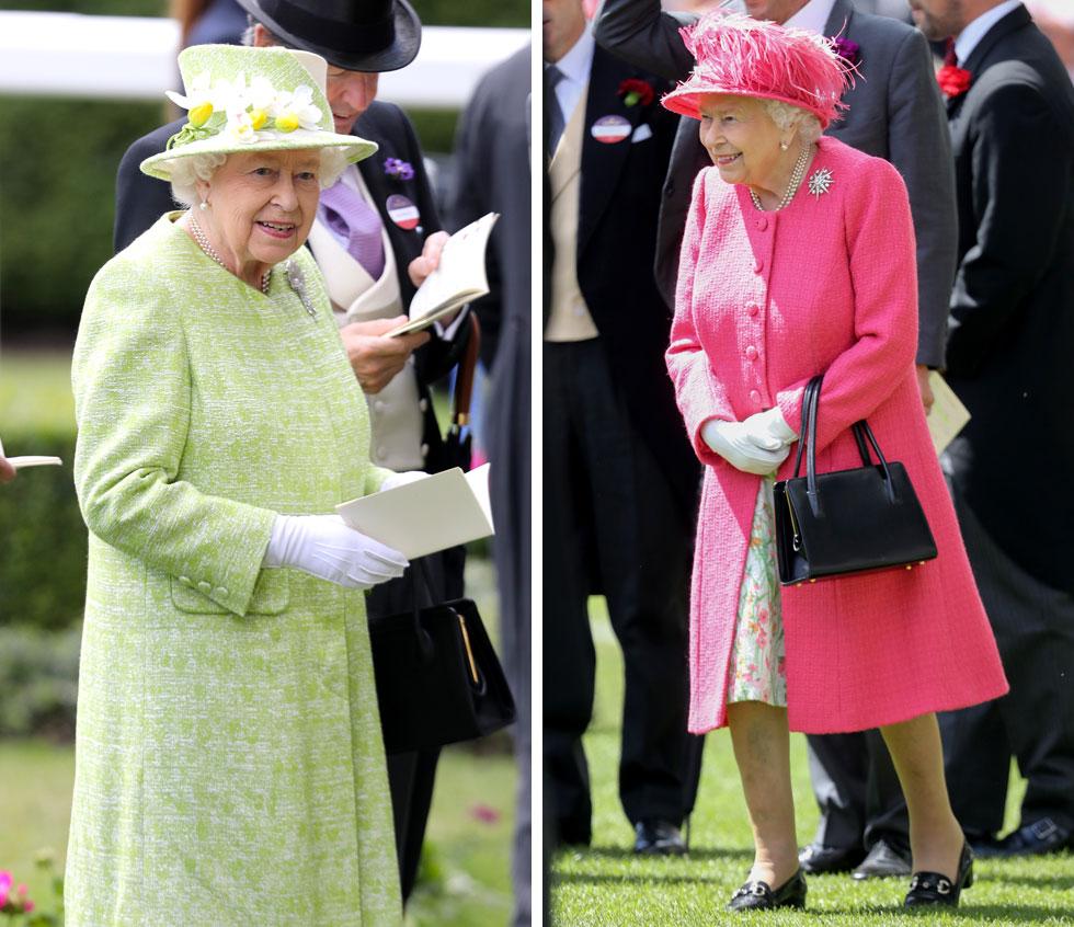 המלכה אליזבת השנייה ידועה באהבתה לסוסים ולרכיבה עליהם, שלעתים נראה כי עולה על אהבתה לבני אדם. לא בכדי, היא לא פספסה אף אחד מחמשת ימי התחרות, כשהיא מקפידה על טוטאל לוק צבעוני בגוון אחיד. את היומיים האחרונים היא סיימה בצבעי גלידה של פוקסיה ומנטה (צילום: Chris Jackson/GettyimagesIL)