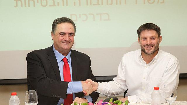 טקס חילופי שרים במשרד התחבורה בהשתתפות ישראל כץ ובצלאל סמוטריץ' (צילום: עמית שאבי)